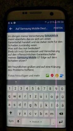 Samsung Mobile Deutschland  Bin echt Sauer, Ich hab ein nicht einmal ein Jahr altes samsung galaxy S7 Edge in weiß  und auf dem Display einen Riesen rosa strich von oben bis unten. Jetzt könnte man meinen, kein Grund Sauer zu sein, ist ja bestimmt Garantie.  Wohl falsch gedacht! Laut MediaMarkt wohl kein Garantiefall, da Blöderweise meine Rückseite nen Sprung hat. Die Tatsache das der strich zuerst da war zählt nicht!? Zur Aufklärung: Zuerst erschien der Strich, ich dachte dieser würde schon…