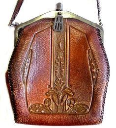 1918 tooled leather hand bag