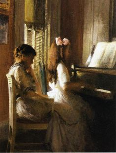 The Athenaeum - The Music Lesson (Joseph Rodefer DeCamp - ) Joseph, Piano Art, American Impressionism, Portraits, Music Lessons, Piano Lessons, Figure Painting, American Artists, Love Art