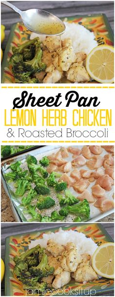 Sheet Pan Lemon Herb Chicken with Roasted Broccoli from Jamie Cooks It Up! This fabulously flavored sheet pan dinner can be made in less than 30 minutes.