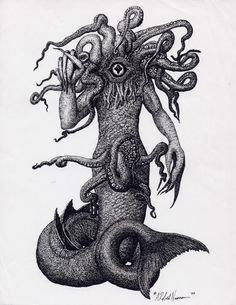 Dagon as the spawn of Cthulhu and consort of Mother Hydra. Visualized by me as a combination of the fish-tailed Philistine god of agricultural abundance. Lovecraft Cthulhu, Hp Lovecraft, Cthulhu Art, Arte Horror, Horror Art, Dragons, Lovecraftian Horror, Eldritch Horror, Call Of Cthulhu