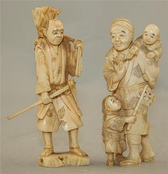 Three Japanese ivory groups of figures, early 20th century, comprising a standing figure of a man with two children, 10.7cm., the sectional ivory figure of a farmer, 10.6cm., and a walrus ivory tusk carving of three musicians and four Oni, two character signature, 22cm., latter with wood stand