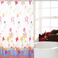 Waterproof Fabric Shower Curtain - Colorful Flower Design