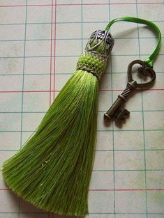Lime Handmade Tassel with Beaded Cuff Diy Tassel, Tassel Jewelry, Tassel Necklace, Jewellery, Crazy Quilting, How To Make Tassels, Passementerie, Yarn Crafts, Bead Weaving