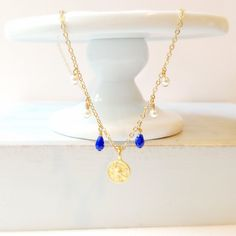 coin charm necklace, simple necklace, layer necklace, gold coin, blue necklace, pearl necklace, fringe necklace by Sayaestics on Etsy