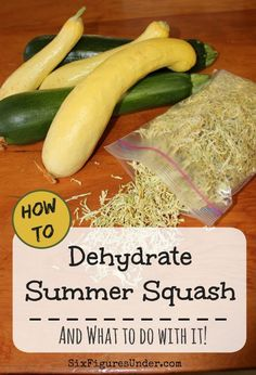 If you've got zucchini or yellow squash growing in your garden, you probably have an abundance. If you've run out of ways to use your summer squash fresh and your freezer is full, there is yet another way to store your harvest-- dehydrating! Here's how to Dehydrated Vegetables, Dehydrated Food, Dehydrated Apples, Canning Food Preservation, Preserving Food, Canned Food Storage, Paleo, Dehydrator Recipes, Canning Recipes