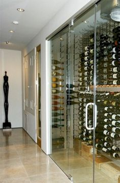 Here's another great contemporary wine cellar with glass doors