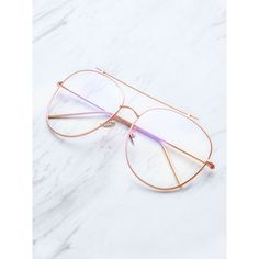 Rose Gold Frame Clear Lens Double Bridge Glasses ($16) ❤ liked on Polyvore featuring accessories, eyewear, eyeglasses, gold, clear glasses, gold frames glasses, clear eye glasses, rose gold glasses and lens glasses