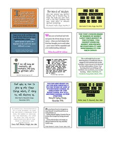 Post It note printables for scriptures. the Sacrifice quote is perfect for first day!