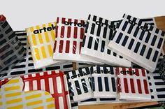 Available in cocktail and lunch sizes, these paper napkins feature the simple yet architectural Siena print by Alvar Aalto. Artek Siena Paper Napkins - $5-$9