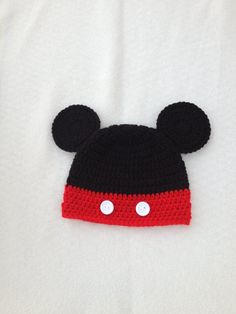 Crochet MICKEY HAT  Crochet Baby Hat  Beanie  Photo by lisaswick, $18.00