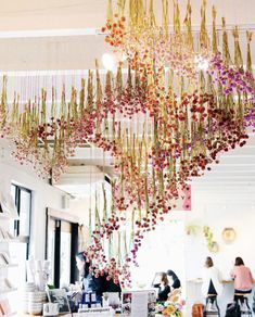 Dried flower installation by artist Ashley Renuart Flower Installation, Ceiling Installation, Hanging Flowers Wedding, Floral Event Design, Floral Designs, Flower Ceiling, Globe Amaranth, Ceiling Hanging, Decoration Inspiration