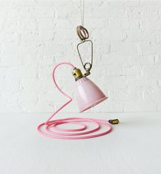 Vintage Bell Clip Light Hanging Lamp with Bright Pink Net Color Cord. #etsy