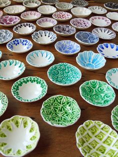 A rainbow of dishlets. Porcelain ring dishes from Mairi Stone. Perfect for jewellery, small treasures and condiments.