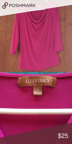 Ellen Tracy pink blouse three-quarter sleeves Alan Tracey blouse hot pink three-quarter sleeves size small pretty blouse Ellen Tracy Tops Blouses
