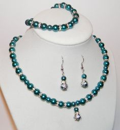 Teal Wedding Jewelry Set Teal Jewelry Set by ScoopofHandmade