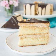 White chocolate layer cake with hazelnut espresso buttercream is a cake worthy of a celebration!