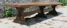 14 ft. long, Medieval style trestle table. Handmade, entirely from one single…