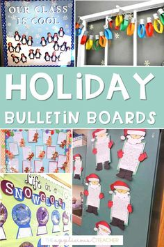 Holiday bulletin board ideas- i love all these simple but cute holiday bulletin board ideas! Perfect for the month of December and beyond! TheAppliciousTeacher.com Reindeer Bulletin Boards, Holiday Bulletin Boards, Classroom Bulletin Boards, Classroom Walls, Classroom Decor Themes, Classroom Setup, Fun Writing Activities, Christmas Activities