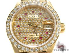 Brought to you by Rolex a brand whose sterling reputation needs no introduction this posh women's watch tells time in gleaming splendor. Its luminous hands point to a total of twelve Round cut Pink rubies one for each hour mark on its diamond encrusted face. High quality Round cut diamonds loop all the way around the bezel and the Datejust technology always tells you the day of the month. The watch fits your wrist comfortably and effortlessly on an 18k Yellow Gold President Bracelet band…