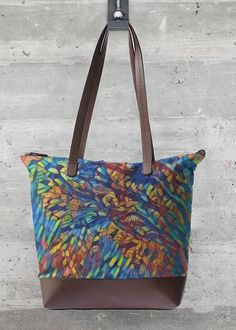 The perfect bag to take you from the boardroom to barre class to the bar for a drink. Featuring beautiful art custom printed on cotton and finished with genuine leather accents, this is the bag you have been looking for. Blue Hyacinth, Vida Design, Artwork Design, Print Patterns, My Etsy Shop, Reusable Tote Bags, Prints, Leather, Accessories
