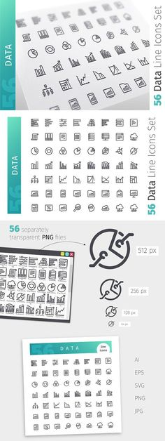 Data Line Icons Set. Business Infographic