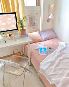 Room Design Bedroom, Small Room Bedroom, Room Ideas Bedroom, Bedroom Decor, Korean Bedroom Ideas, Bedroom Inspo, Small Rooms, Girls Bedroom, Master Bedroom
