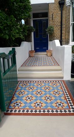 Multi coloured Victorian Mosaic tile Path with New Yorkstone Steps Front Garden Path, Front Path, Front Door Steps, Front Door Porch, House Front, Front Gardens, Front Entry, Victorian Front Garden, Victorian Front Doors