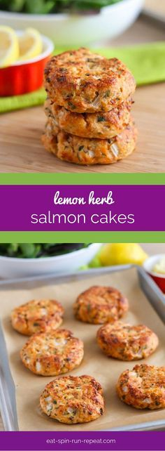 Lemon Herb Salmon Cakes - A delicious, juicy, super easy to make appetizer or light meal that's loaded with protein, omega-3 healthy fats, and is gluten-free. Full recipe at eat-spin-run-repeat.com