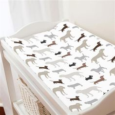 Brown and Gray Dogs Changing Pad Cover | Carousel Designs
