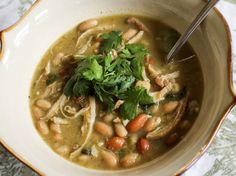 White Bean Chicken Chili - a simple chili with lots of flavor from using an assortment of peppers and corn meal.