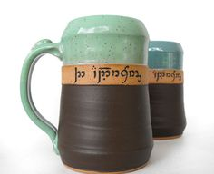 """Custom Elvish Script Carved Tankard """"They come in PINTS? I'm getting one."""""""
