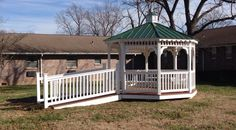 12'x12' Vinyl Gazebo with custom 8' ramp and railing installed for Presbyterian Manor of Farmington.   Order from these popular -Octagon sizes... 8'x8', 10'x10', 12'x12', 14'x14' Or -Oblong sizes... 8'x12', 10'x16', 12'x16', 12'x20', 12'x24', 14'x20', & 14'x24.   Other custom sizes available upon request. Other options... -Shingle Roof -Metal Roof -Wood Floor -Composite Floor -Benches  Rent to Own & Financing Available.  #gazebo #vinyl #ramp #railing #farmington #maintenance #free #octagon