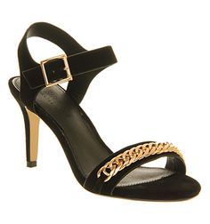 Office Grace Chain Single Sole Black Suede - Mid Heels