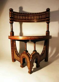 19th Century ivory inlaid Syrain chair,  in the manner of  Carlo Bugatti