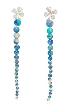 18K White Gold Cabinet Of Curiosity Earrings With Diamonds And Opals by Lydia Courteille for Preorder on Moda Operandi