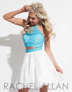 Rachel Allan 4027 Aqua White Two Piece Homecoming Dress at Rsvp Prom and Pageant, Atlanta, GA