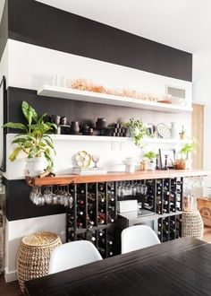 Great idea for red wine storage... perhaps incorporated as the kitchen island/bar. From: Sarah's Small & Stylish Brooklyn Apartment — House Tour