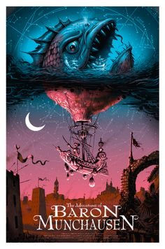 The Adventures of Baron Munchausen - silkscreen movie poster (click image for more detail) Artist: Jeff Soto Venue: N/A Location: N/A Date: 2014 Edition: numbered only Size: x Condition: Mais Best Movie Posters, Movie Poster Art, Cool Posters, Art Posters, Art Et Illustration, Illustrations, Kunst Poster, Anime Kunst, Alternative Movie Posters