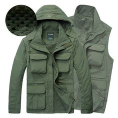 AFSJEEP Outdoor Water Resistant Detachable Sleeve Quickly Dry Detachable Hood Jacket for Men