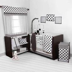 Bacati Dots/Pin Stripes 10-Piece Nursery in a Bag Crib Bedding Set, Black/White