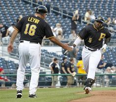 Pittsburgh Pirates' Josh Harrison (5) Is congratulated after a home run