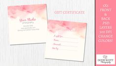 Water color Gift Certificate Card Template  Front and Back by DovieScottPhoto, $5.99
