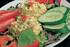 Eggless egg salad:  I pkg firm tofu, vegan mayo, mustard, turmeric, celery, bell pepper, green olives, parsley, portabellos, italian seasoning, pepper, salt : )