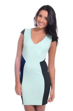 Red Label   Mint panel bodycon dress with zip, £17 #dress #mint #loveredlabel #fashion #style www.loveredlabel.com