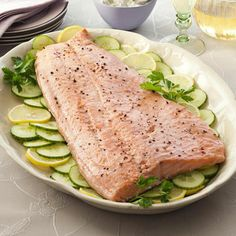 Try this Salmon with Lemon-Horseradish Sauce for your next dinner party. #protein #myplate