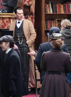 SHERLOCK (BBC) ~ Benedict Cumberbatch (Sherlock) in Victorian costume on the set on February 2, 2015 in Bath, England during the filming of the pre-Season 4 SHERLOCK: THE SPECIAL. [Photo by http://cumberfoil.tumblr.com]