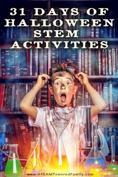 Love Halloween? Love STEM? Celebrate the countdown to Halloween with our 31 Days of Halloween STEM Activities. A little Halloween STEM for every day! via /steampoweredfam/