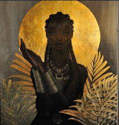 Ngame African Moon Goddess of the Soul Painting by Sarah Golish Black Art, Black Girl Art, Black Women Art, African Mythology, African Goddess, Greek Mythology, Goddess Art, Moon Goddess, Oshun Goddess