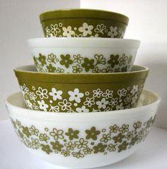 Vintage Spring Blossom Green Pyrex Mixing Bowl Complete Set. $60.00, via Etsy.